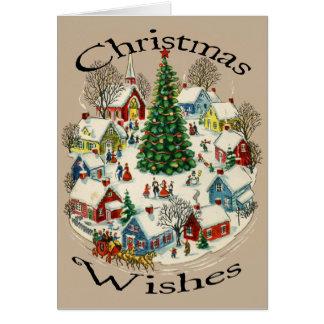 Cartão de Natal da cidade pequena do vintage