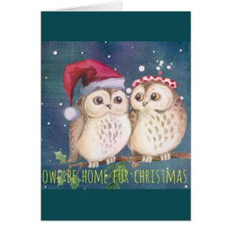 Cartão de Natal da coruja