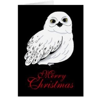 Cartão de Natal da coruja da neve