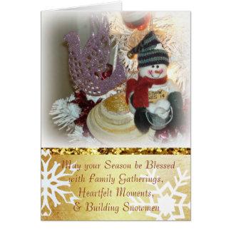 Cartão de Natal da faísca da pomba e do boneco de