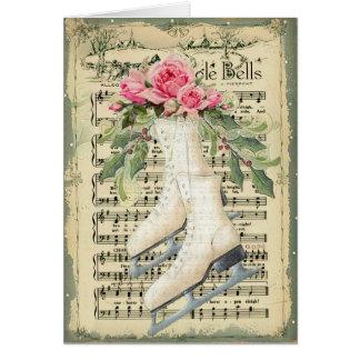 Cartão de Natal da folha de música do vintage e
