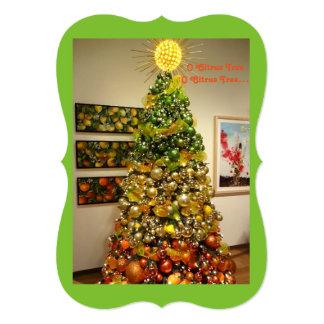 Cartão de Natal da foto da árvore de citrino de O