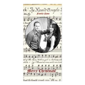 Cartão de Natal da foto da música do vintage Cartão Com Foto