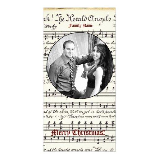 Cartão de Natal da foto da música do vintage Cartões Com Fotos