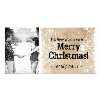 Cartão de Natal da foto do pergaminho Cartão Com Foto
