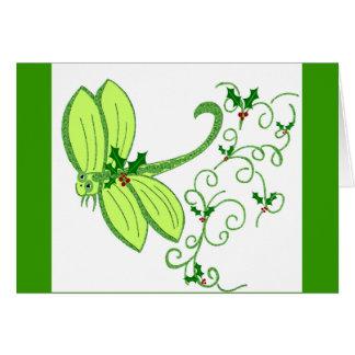 Cartão de Natal da libélula do azevinho