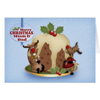Cartão de Natal da mãe e do pai com pudim & rena
