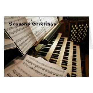 Cartão de Natal da mesa de música do órgão