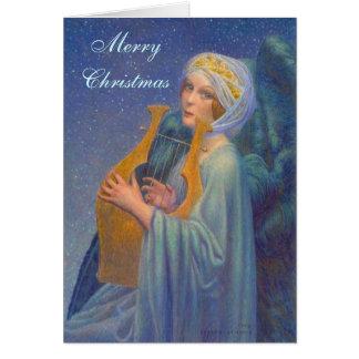 Cartão de Natal da música do anjo