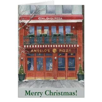 Cartão de Natal da pizza NYC de Angelo