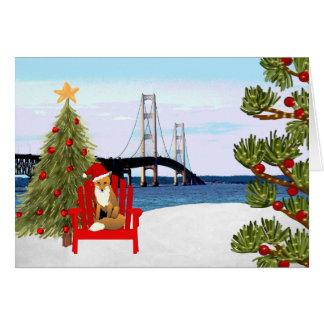 Cartão de Natal da ponte de Mackinac com cadeira