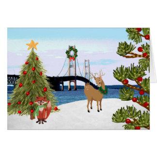 Cartão de Natal da ponte de Mackinac com Fox