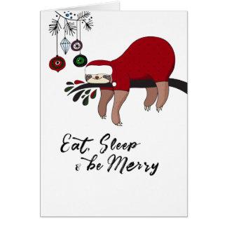 Cartão de Natal da preguiça