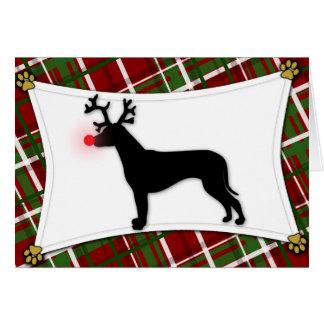 Cartão de Natal da rena de Rhodesian Ridgeback