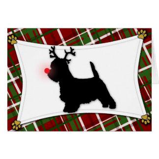Cartão de Natal da rena de Westie