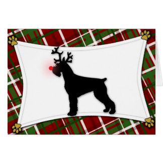 Cartão de Natal da rena do Schnauzer gigante