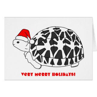 Cartão de Natal da tartaruga da estrela (chapéu do