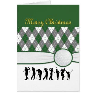 Cartão de Natal da xadrez de Argyle.