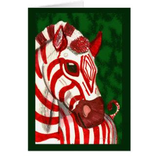 Cartão de Natal da zebra do bastão de doces