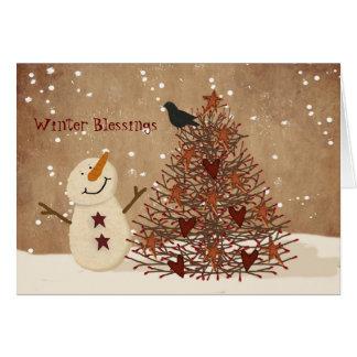 Cartão de Natal das bênçãos do inverno
