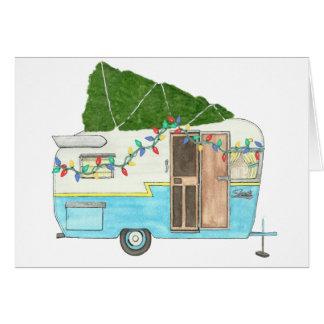 Cartão de Natal de acampamento do reboque do