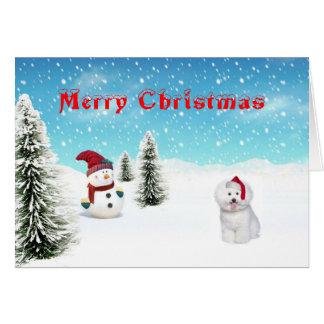 Cartão de Natal de Bichon Frise