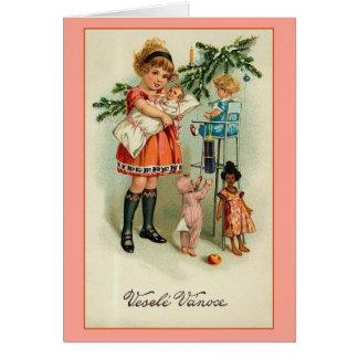 Cartão de Natal de Checo Veselé Vánoce do vintage