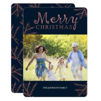 Cartão de Natal de cobre do ramo do pinho