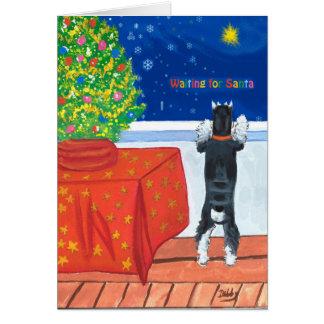 Cartão de Natal de espera do papai noel
