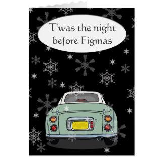 Cartão de Natal de Figmas do carro de Figaro do