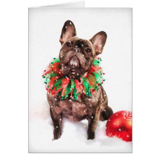Cartão de Natal de Frenchie do buldogue francês