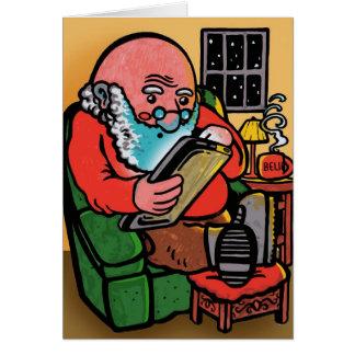 Cartão de Natal de Ipad do papai noel