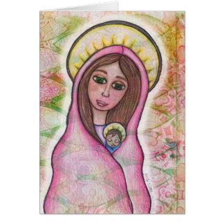 Cartão de Natal de Jesus de Mary e de bebê