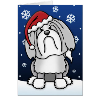 Cartão de Natal de Kawaii Lowchen