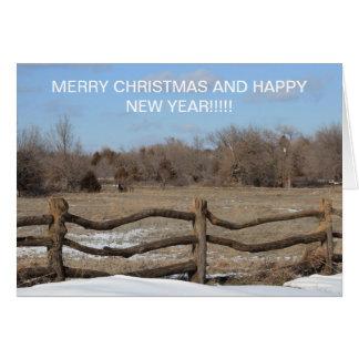 CARTÃO de Natal de madeira nevado da cerca