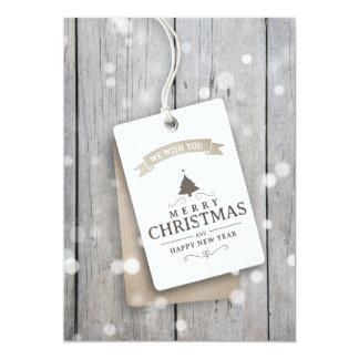Cartão de Natal de madeira nevado do negócio
