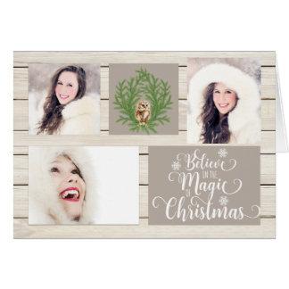 Cartão de Natal de madeira rústico da foto do país