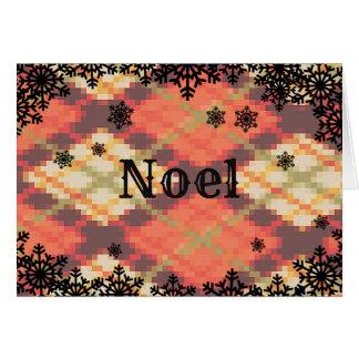Cartão de Natal de Noel com beira do floco de neve