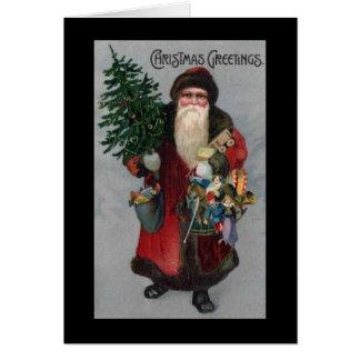 Cartão de Natal de Papai Noel da era do Victorian