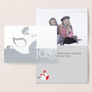 Cartão de Natal de prata da foto da alegria da