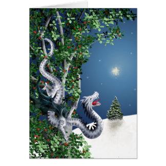 Cartão de Natal de prata do dragão