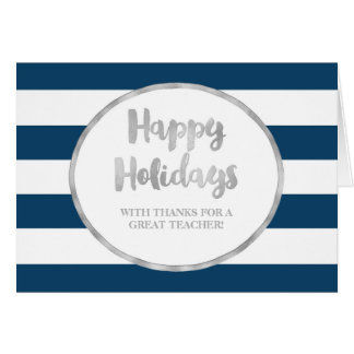 Cartão de Natal de prata do professor das listras