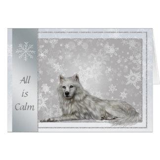 Cartão de Natal de prata elegante do lobo