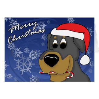 Cartão de Natal de Rottweiler do bastão de doces