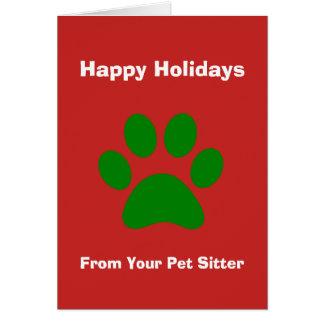 Cartão de Natal de seu baby-sitter do animal de
