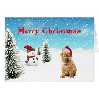 Cartão de Natal de Shar-pei do chinês