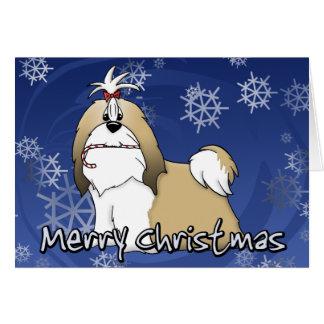 Cartão de Natal de Shih Tzu dos desenhos animados