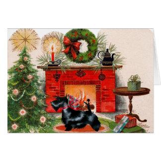 Cartão de Natal de Terrier da lareira e do