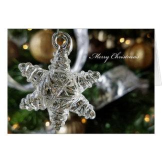 Cartão de Natal de vidro do floco de neve