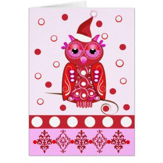 Cartão de Natal decorativo bonito com coruja dos